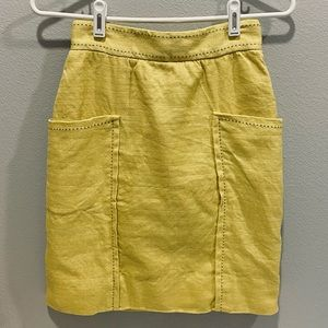 CARTONNIER Yellow Skirt with Pockets, Size 0